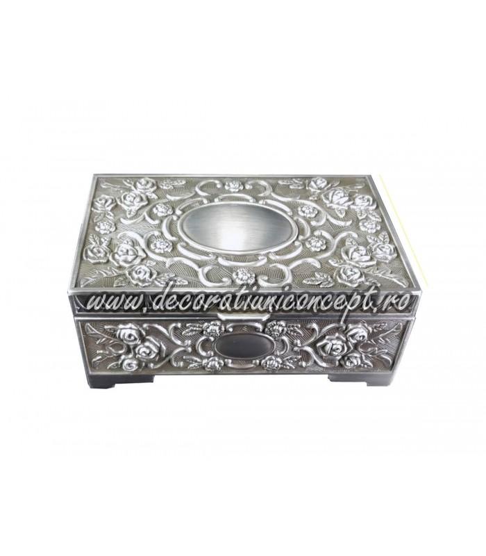 Cutie bijuterii metalică captușita