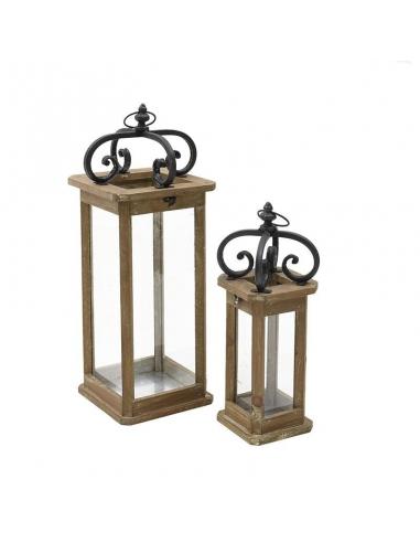 Set 2 felinare decorative, din lemn